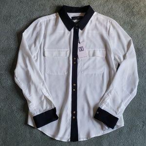 NWT Ivanka Trump Sz L white/black shirt